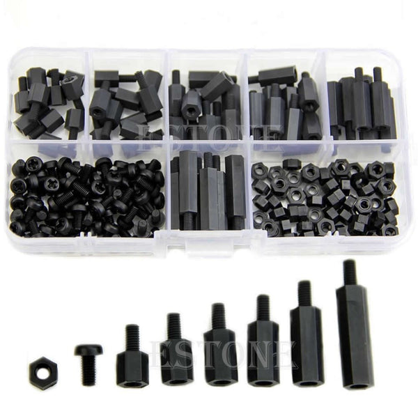 M3 Nylon Black Hex M-F Spacers/ Screws/ Nuts Assorted Kit, Standoff  Free shipping-Y103