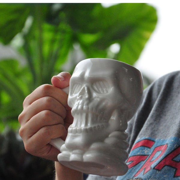 New arrival ZAKA Creative white skeleton ceramic breakfast mugs Strange special mugs Halloween gifts Office cups Decorative cups - Hespirides Gifts
