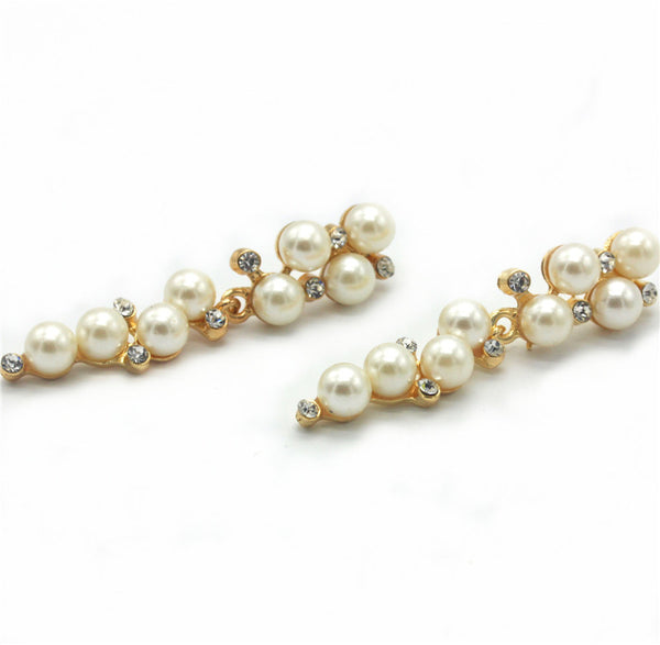 Fashion Brand New Design Elegant Crystal and Pearl Drop Long Earrings For Woman hoop Gift Wholesale Jewelry - Hespirides Gifts - 3