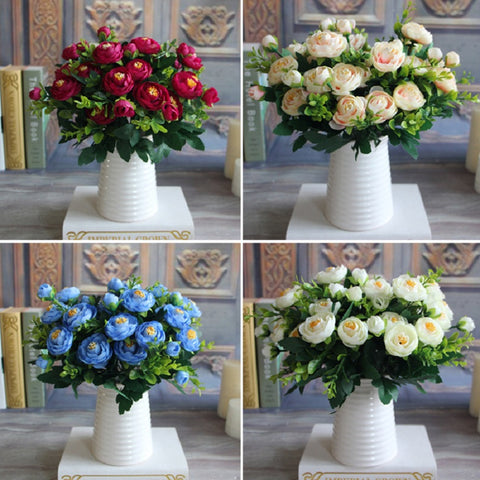 New Multi Color Realistic 6 Branches Spring Artificial Fake Peony Flower Arrangement Home Table Room Hydrangea Decor - Hespirides Gifts - 1