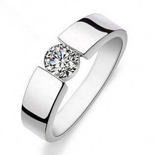 hot sell shiny CZ diamond 30% percent silver plated men`s rings/man wedding finger ring jewelry gift - Hespirides Gifts