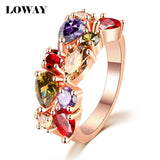 LOWAY Fashion Multicolor Rings Women Anillos Cubic Zirconia 18K Rose Gold Plated Wedding Finger Ring Fine Jewelry Bague JZ5900 - Hespirides Gifts - 1