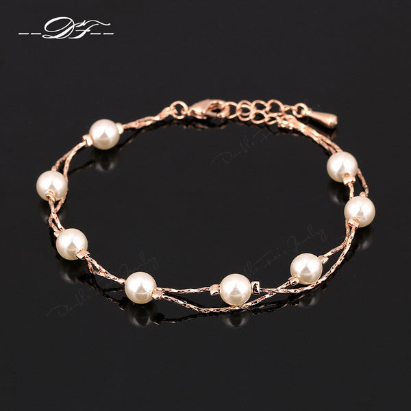 Charm Bracelets & Bangles 18K Platinum/Rose Gold Plated Fashion Simulated Pearl Beads Wedding Jewelry For Women Gift DFH169M