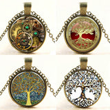 Fashioon Retro Vintage Bronze Chain Tree of Life Glass Cabochon Pendant Necklace For Women Men - Hespirides Gifts