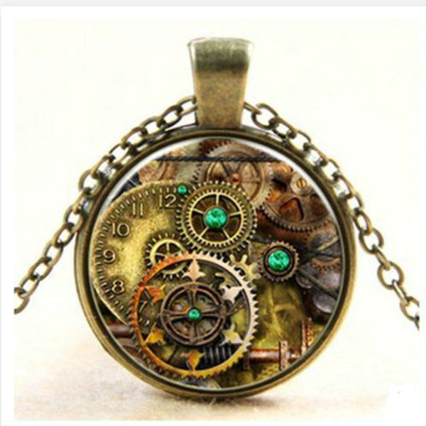 Fashioon Retro Vintage Bronze Chain Tree of Life Glass Cabochon Pendant Necklace For Women Men