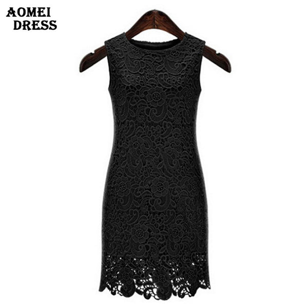 S 5XL Summer Sleeveless Crochet Dress Embroidery Lace Sundress Ladies White Black Women's Dresses Robes Slim workwear Tunics