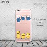 Cute Despicable Me Yellow Minion Design Cover Sofe Minions Case For iphone 6 6s 5 5s SE 7 plus Transparent Silicone Coque Fundas - Hespirides Gifts - 7