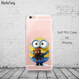 Cute Despicable Me Yellow Minion Design Cover Sofe Minions Case For iphone 6 6s 5 5s SE 7 plus Transparent Silicone Coque Fundas - Hespirides Gifts - 14