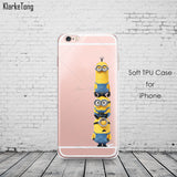 Cute Despicable Me Yellow Minion Design Cover Sofe Minions Case For iphone 6 6s 5 5s SE 7 plus Transparent Silicone Coque Fundas - Hespirides Gifts - 6