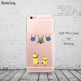 Cute Despicable Me Yellow Minion Design Cover Sofe Minions Case For iphone 6 6s 5 5s SE 7 plus Transparent Silicone Coque Fundas - Hespirides Gifts - 9