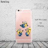 Cute Despicable Me Yellow Minion Design Cover Sofe Minions Case For iphone 6 6s 5 5s SE 7 plus Transparent Silicone Coque Fundas - Hespirides Gifts - 5