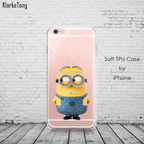 Cute Despicable Me Yellow Minion Design Cover Sofe Minions Case For iphone 6 6s 5 5s SE 7 plus Transparent Silicone Coque Fundas - Hespirides Gifts - 4