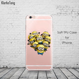 Cute Despicable Me Yellow Minion Design Cover Sofe Minions Case For iphone 6 6s 5 5s SE 7 plus Transparent Silicone Coque Fundas - Hespirides Gifts - 3