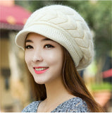 New Women Hat Winter Beanies Knitted Hats For Woman Rabbit Fur Cap Autumn And Winter Ladies Fashion Skullies - Hespirides Gifts - 1