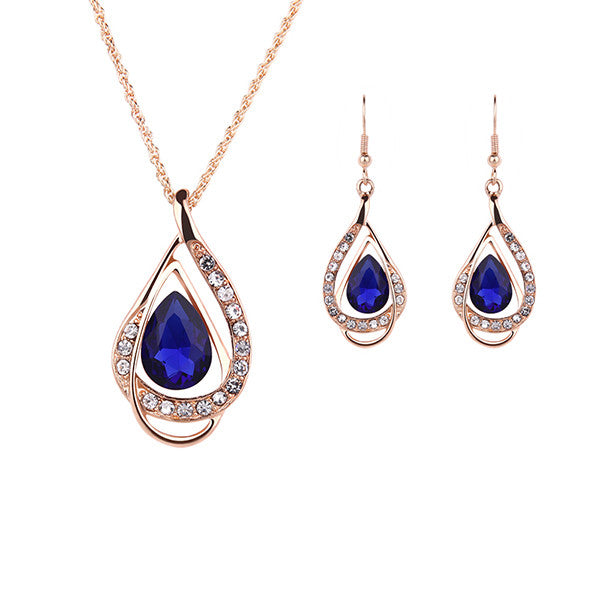 Ruby.Ruth brand Wedding Accessories Jewelry Sets Women Collar Crystal Necklace Earrings Holiday Party gold plated jewelry set - Hespirides Gifts - 3