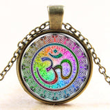 Newest Style Casual Yoga OM Pendant Necklace Fashion Round Ethnic Silver Plated - Hespirides Gifts - 2