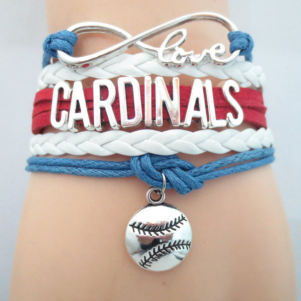 Infinity Love Cardinals baseball College Team Bracelet blue white red Customized Wristband friendship Bracelets B09327 - Hespirides Gifts - 4