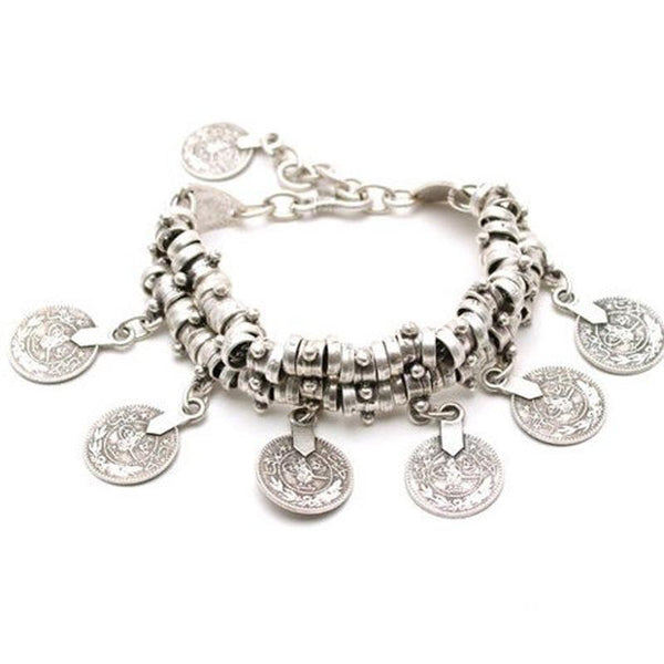 New Vintage Fashion Charm Bohemia Coin Bracelets Bangles Silver For Women Men Jewelry Bracelet Famous Brand Wholesale - Hespirides Gifts - 3