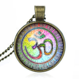 Newest Style Casual Yoga OM Pendant Necklace Fashion Round Ethnic Silver Plated - Hespirides Gifts - 1
