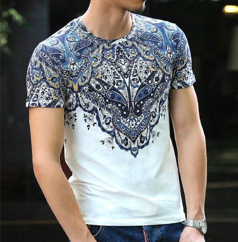 Fashion Plus Size Cotton Vintage Totem Top Summer Man Clothes Men T Shirts Print Tees Fitness Tee Shirt Mens t shirt G120-6 - Hespirides Gifts - 1