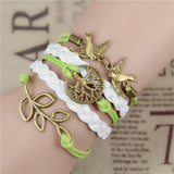 New Mix Infinity Love Leather Love Owl Leaf Charm Handmade Bracelet Bangles - Hespirides Gifts - 19