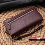 Hot New Brand Design zipper Fashion black genuine leather men wallets long casual brown - Hespirides Gifts - 16