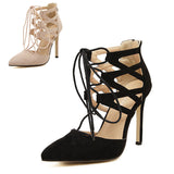 Sexy Women Pumps Pointed Toe High Heels Shoes Woman Lace Up Cutouts Fashion Women Wedding Shoes Sapato Feminino - Hespirides Gifts - 5