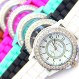 Silicone GENEVA Women Rhinestone Quartz Fashion Wrist Watch Watches - Hespirides Gifts - 1