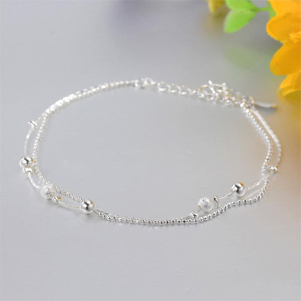 Women Silver Plated Anklet Bead Ankle Bracelet Fashion Anklets for Women New Foot - Hespirides Gifts - 2