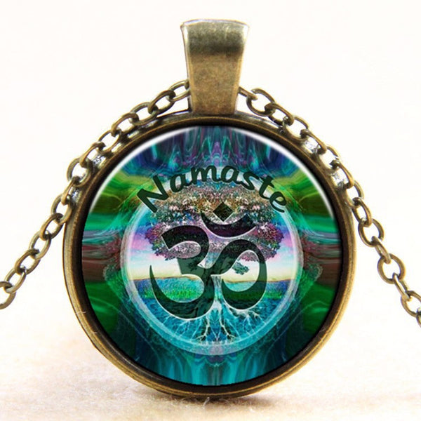 Newest Style Casual Yoga OM Pendant Necklace Fashion Round Ethnic Silver Plated - Hespirides Gifts - 4