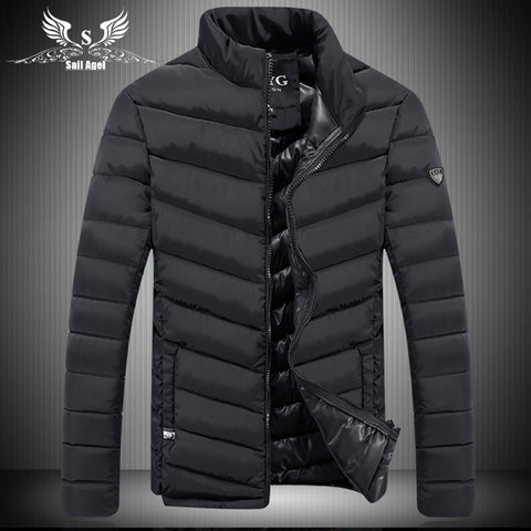 new brand QCYG hot men's winter collar fashion slim sports down cotton men jackets business casual warm coat mens jacket - Hespirides Gifts - 1