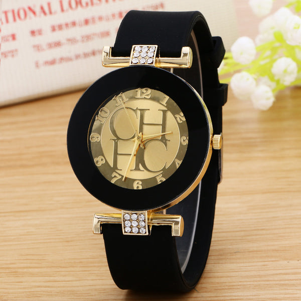 ladies watch new tide comfortable silicone strap quartz watch set auger gold watches - Hespirides Gifts