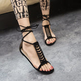 Summer Style Gladiator Sandals Woman Cross-tied sandalias Women Boots Sexy Ankle Strap Sandal Cut outs Flat Shoes - Hespirides Gifts - 2