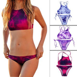 New Women Print Bikini Set Sexy Tie Dye Swimwear Crop Top 3 Colors High Neck Bikini - Hespirides Gifts - 1