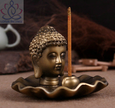 Golden Buddha Head Ceramic Aromatherapy Incense Holder for Incense Stick,Incense Cone - Hespirides Gifts - 1