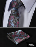 "TF2013D7 Gold Navy Blue Paisley 2.75"" 100%Silk Woven Slim Skinny Narrow Men Tie Necktie Handkerchief Pocket Square Suit Set - Hespirides Gifts - 23"
