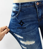 Women Low Waist Stretch Ripped Legs Skinny Washed Denim Jeans Pants (Blue) (Jeans Size In Inches 25-30) - Hespirides Gifts - 14