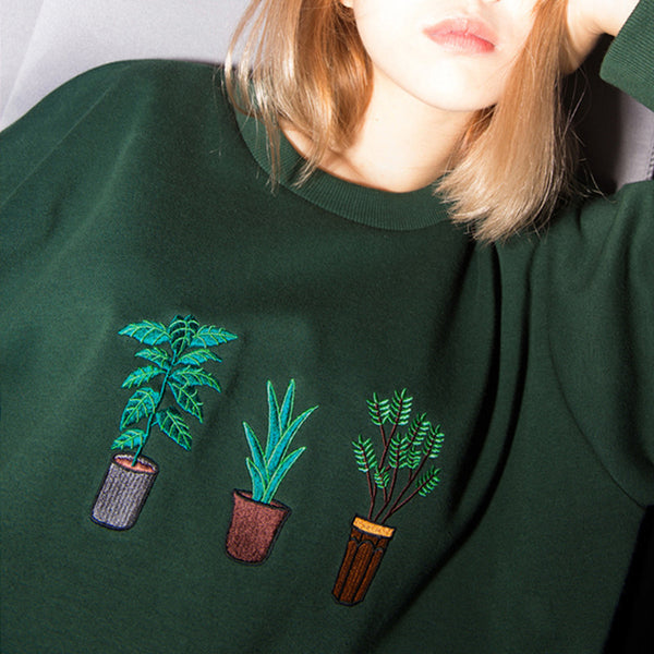 Wind potted plant embroidery loose section hedging long-sleeved sweatshirt - Hespirides Gifts