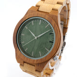 Bobobird M006 Mens Top Brand Design Green Wood Dial Full Bamboo Wooden Quartz Watches Japan 2035 Miyota Movement - Hespirides Gifts - 4