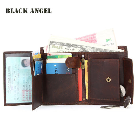 High Quality Vintage Genuine Leather Men Wallets Cowhide Trifold Zipper Wallet - Hespirides Gifts - 2