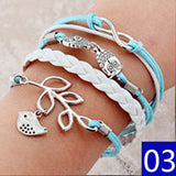 Vintage Bird Owls Anchor Bracelets Wrap Leather Bracelet Charm bracelets - Hespirides Gifts - 7