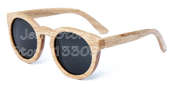 bamboo wooden sunglasses round frame sunglasses - Hespirides Gifts - 6