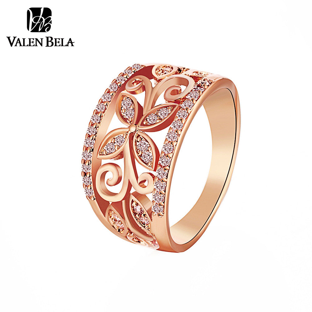 Buy Rose Gold Flower Cubic Zirconia Rings Women Size 6,7,8,9 ...