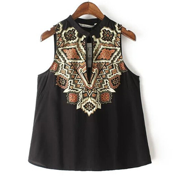 New Women Z&Y Ethnic Retro Geomtric Print Sleeveless vintage Shirt Hollow out O-neck Pullover Cotton Blouse Tank Tops Black - Hespirides Gifts - 5