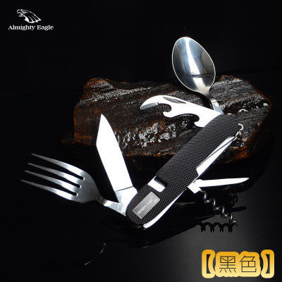 Portable Folding Camping Tool Stainless steel outdoor tableware folding tableware set picnic spoon fork travel kit - Hespirides Gifts - 2