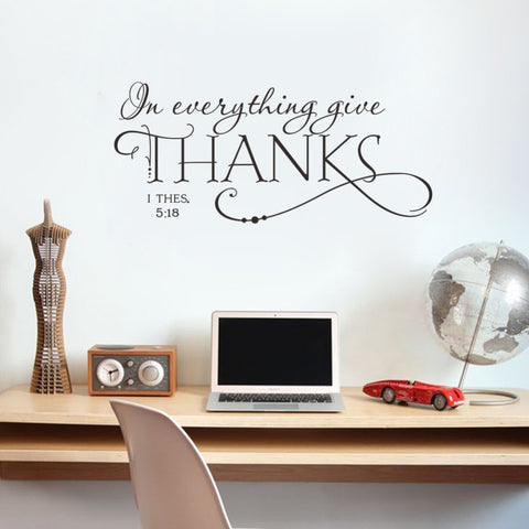 In everything give THANKS Christian Jesus Vinyl Quotes Wall Sticker Art decal room - Hespirides Gifts - 2