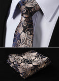 "TF2013D7 Gold Navy Blue Paisley 2.75"" 100%Silk Woven Slim Skinny Narrow Men Tie Necktie Handkerchief Pocket Square Suit Set - Hespirides Gifts - 1"