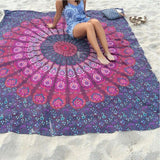 Indian Yoga Blankets Round Mandala Tapestry Wall Hanging Throw Towel Beach Yoga Mat - Hespirides Gifts - 5