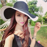 Summer Women's Foldable Wide Large Brim Beach Sun Hat Straw Beach Cap For Ladies Elegant Hats Girls Vacation Tour Hat - Hespirides Gifts - 13