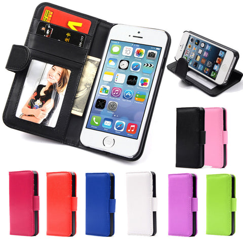 Hot Wallet Flip PU Leather Case For Apple iPhone 4 4S 4G Magnetic Case with Photo Frame Card Holder Smart Stand Skin Bags Cover - The Fire Pits Store  - 1